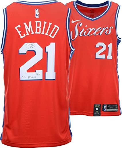 pretty nice 9dccb acc26 Joel Embiid Philadelphia 76ers Autographed Red Statement ...
