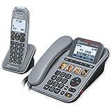 amplicomms PowerTel 1880, Schnurgebundenes Großtastentelefon mit integriertem Anrufbeantworter und zusätzlich schnurlosem Mobilteil, Hörgerätkompatibel