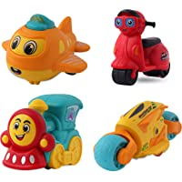 Gooyo Unbreakable Pull Back Auto Vehicles| Push and Go Along Toy, Power Friction Cartoon Toys for Toddler|Boys|Kids, Scooter, Bike, Train, Plane Friction Toys - Pack of 4