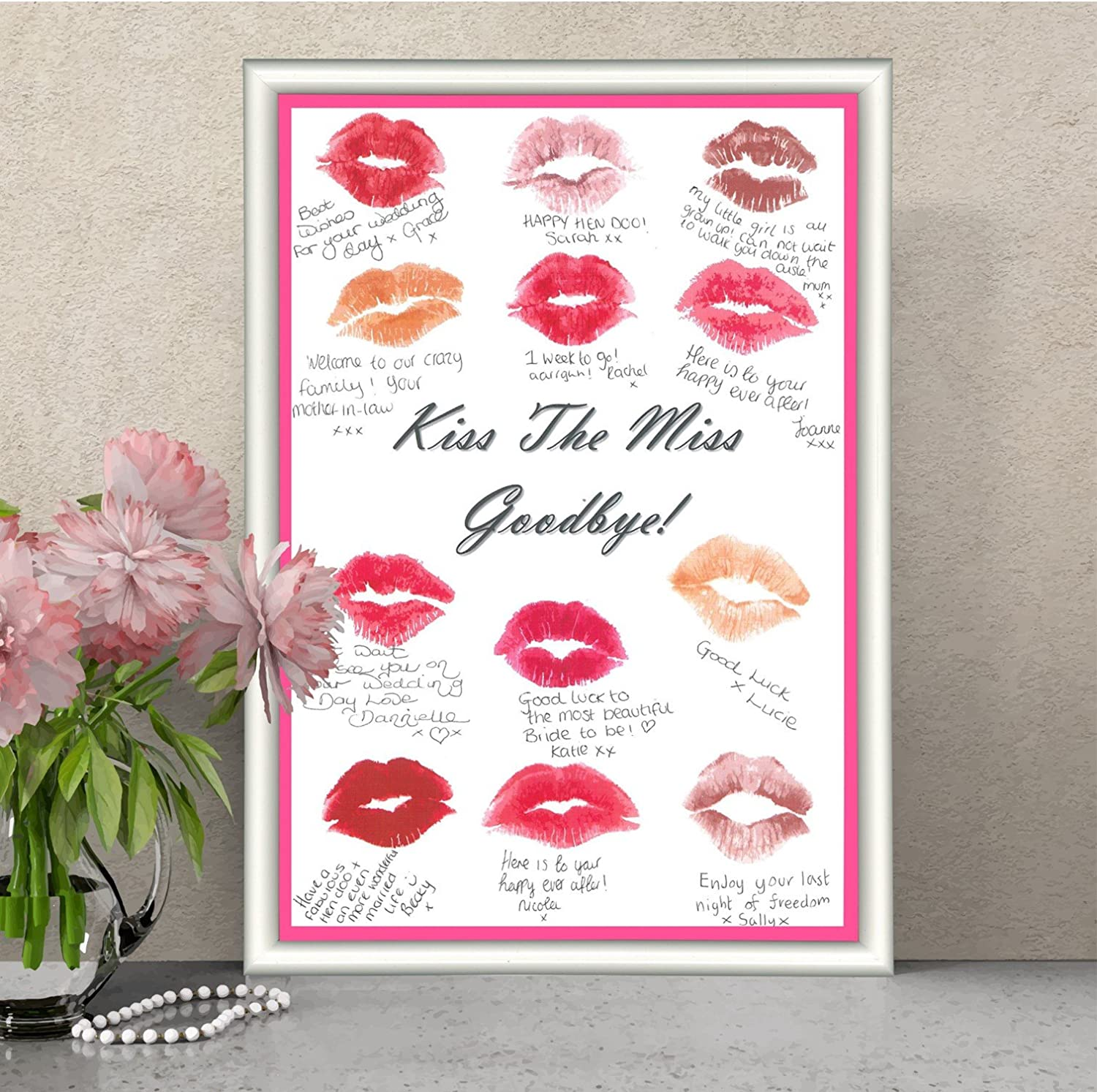 Hen Party Keepsake Game Accessories A4 Print Kiss The Miss frame space BLUE