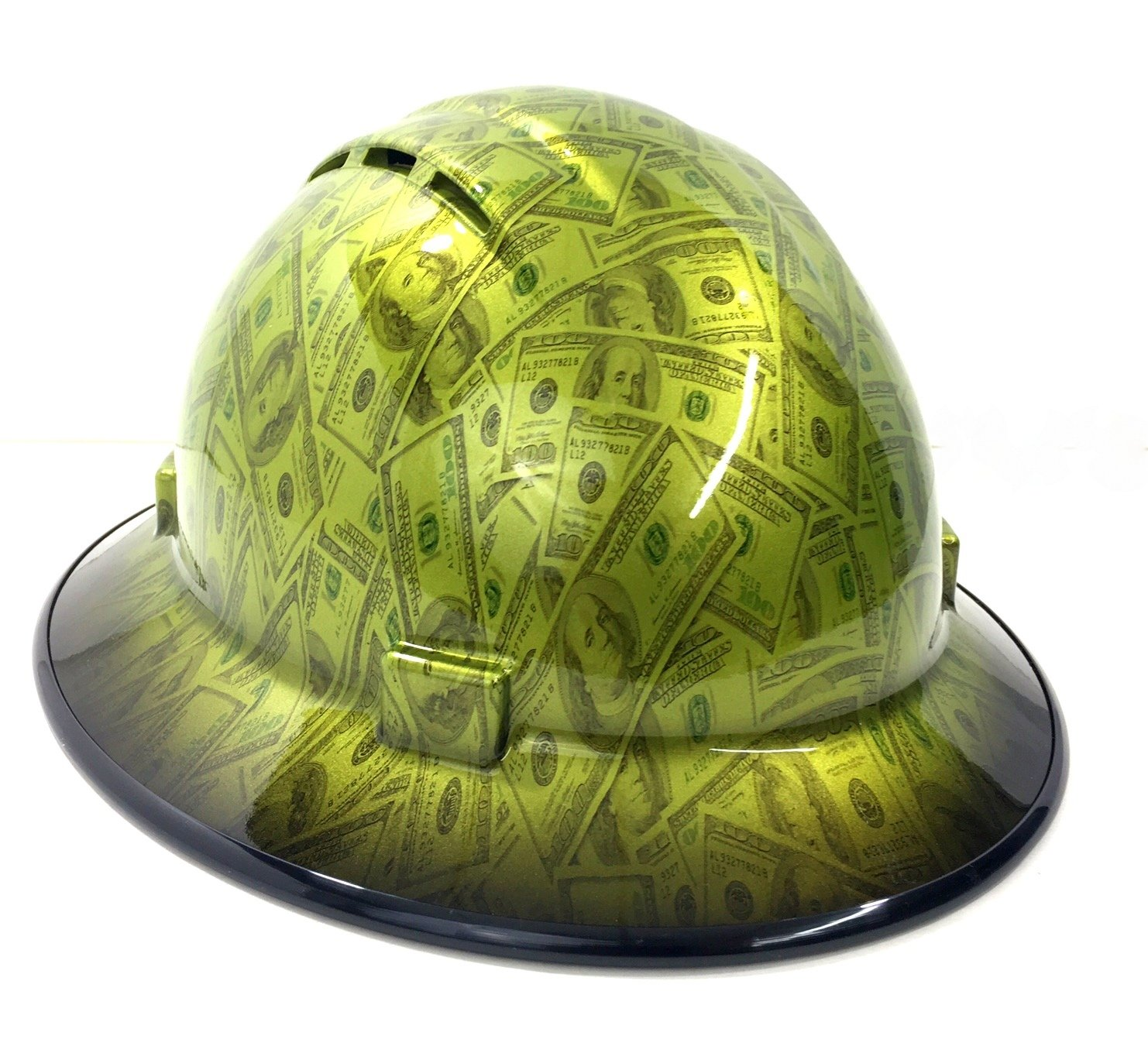 HardHatGear Custom Hydro Dipped VENTED Full Brim Hard Hat in 'Lil Benjamins' - Made in USA