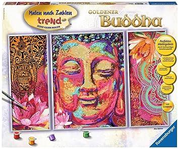 Ravensburger 28976 Goldener Buddha Malen Nach Zahlen Triptychon 80 X 50 Cm