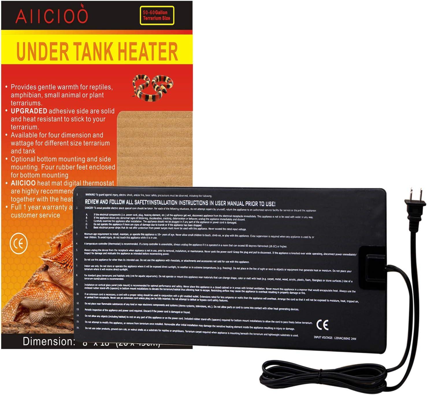 AIICIOO [Upgrade Version Under Tank Heater Reptile Heating Pad Ideal for Hermit Crab Terrarium
