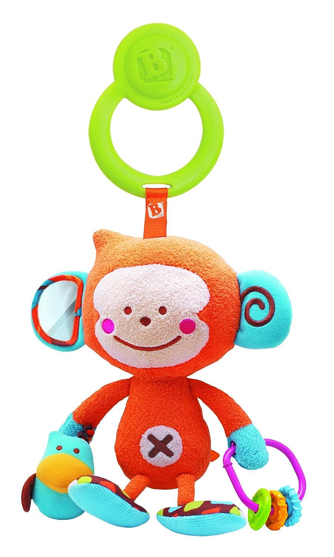 Bkids 003793 - Peluche de actividades para bebé (con enganche), diseño de mono, multicolor