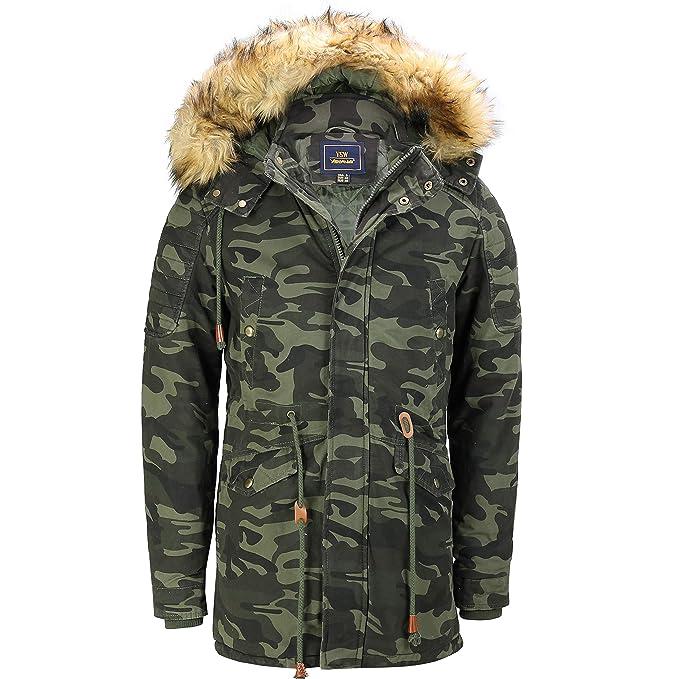 07bbce7add58 Amazon.com  Mens Retro Camouflage Military Style Warm Winter Jacket ...