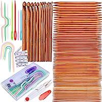 Exquiss Knitting Needles Set-75 Pcs 15 Sizes Bamboo Double Pointed Knitting Needles Set + 12 Pcs 12 Sizes Crochet Hooks…