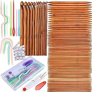 """15 sizes Carbonized Patina  7/"""" Double Pointed Bamboo Knitting Needles US 0-15"""