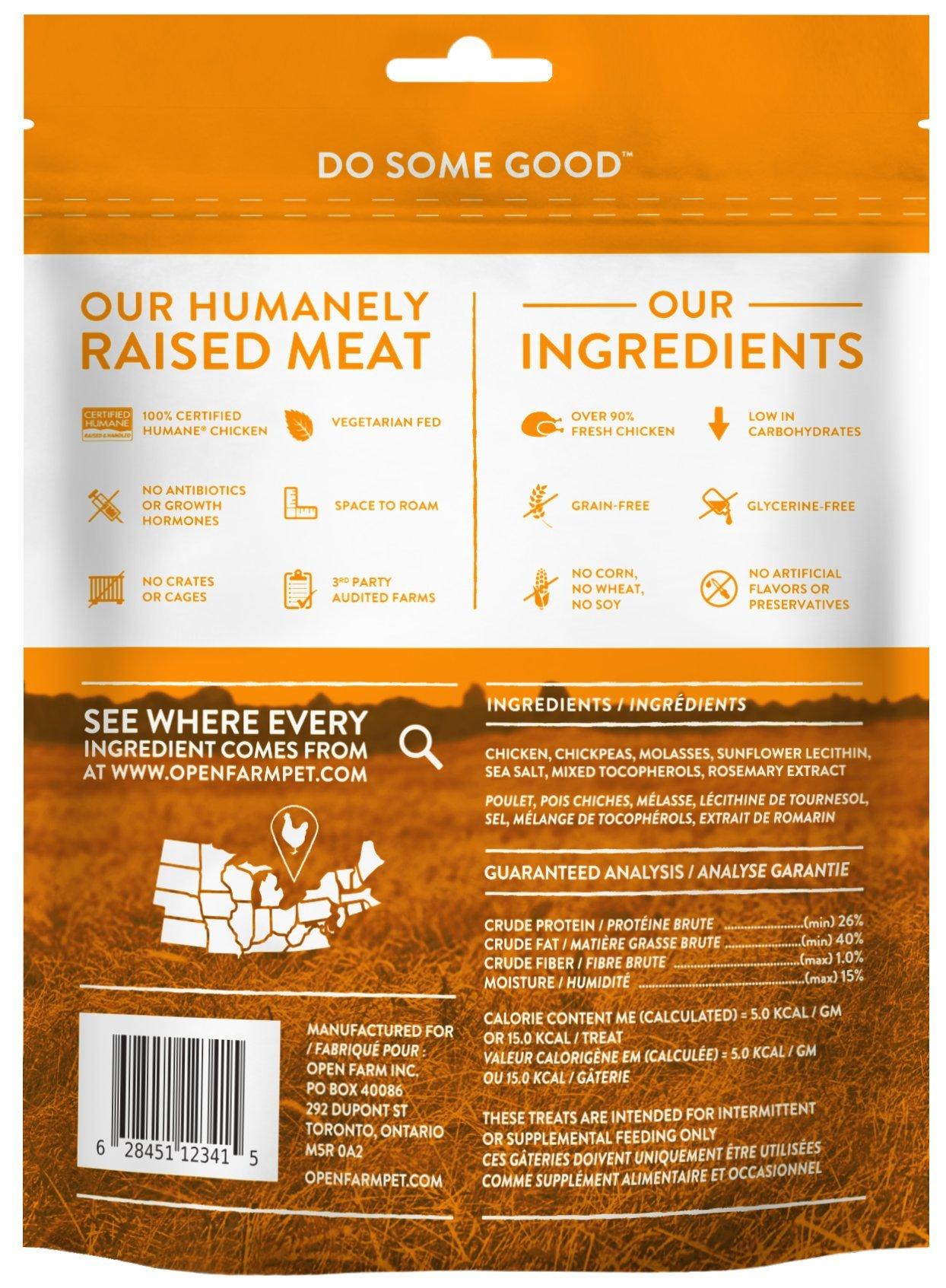 Open Farm Grain-Free Dehydrated Chicken Dog Treats 4.5 Ounces