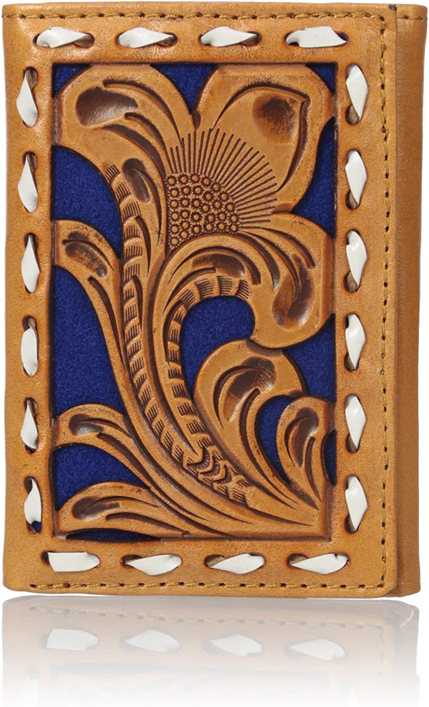 Nocona Men's Blue Floral Pierced Trifold Buck