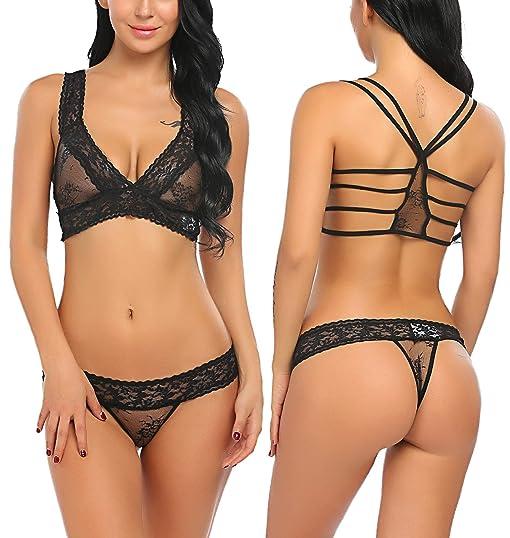 37f56c30fa Avidlove Women Lace Lingerie Babydoll 2 Piece Sexy Bra and Panty Set .