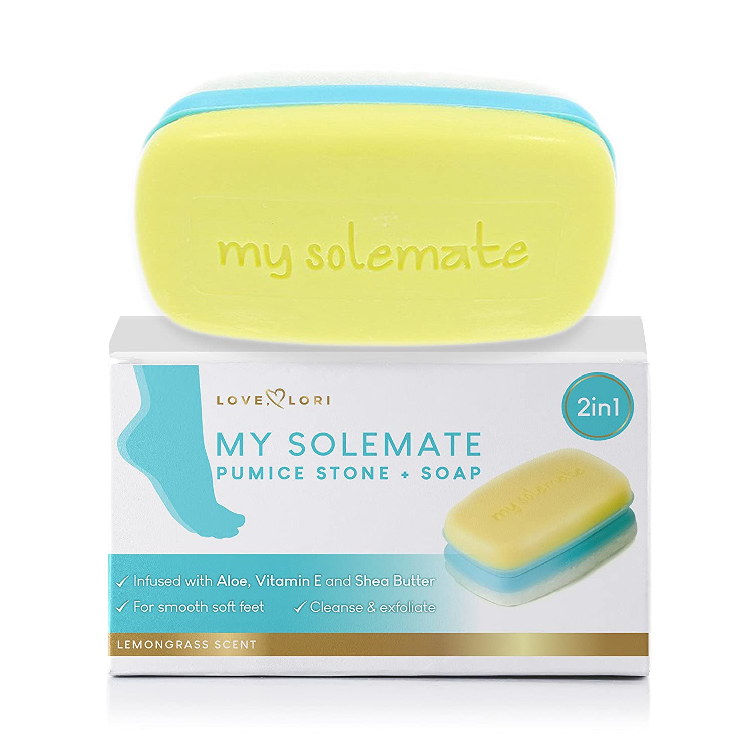 2 in 1 Foot Pumice Stone Scrubber and Callus Remover Cracked Heel Treatment with Lemongrass Moisturizing Foot Soap - My Solemate: Beauty