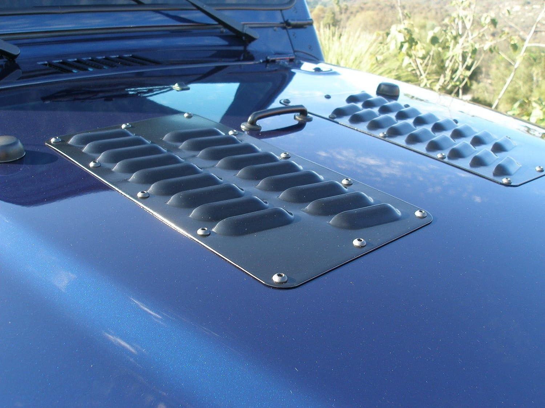 "RodLouvers Pair of Double Row 3"" Angled Aluminum Hood Panels (Bolt-on) Kit"