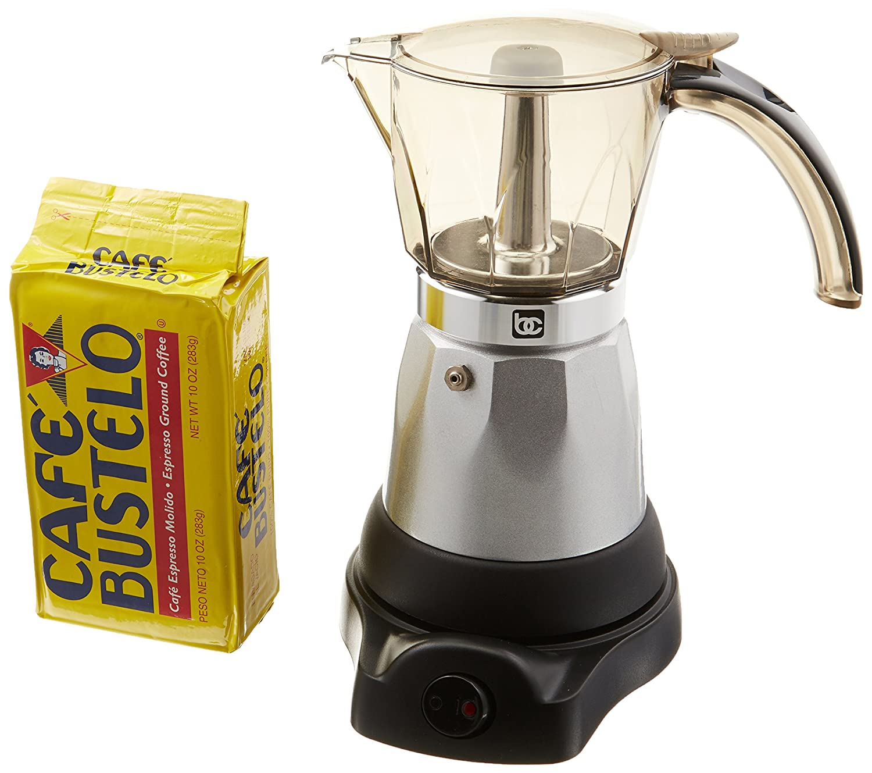Electric Espresso Coffee Makes 3-6 Cups. 10 oz Bustelo Espresso Coffee Pack Included BeneCasa BC-90264