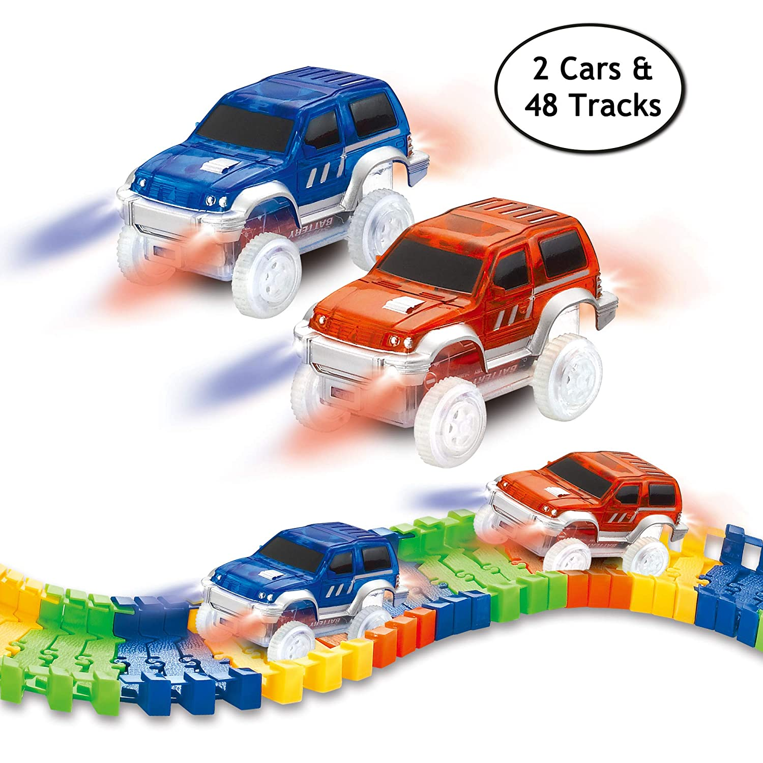 STNTUS INNOVATIONS Electric LED Cars 2 Pack, Compatible Magic Tracks, Twister Tracks Dinosaur Race Track, Replacement Vehicles 48 Flexible Tracks, Perfect Toy Gifts Kids Boys Girls CHUANGFENG TOYS FACTORY