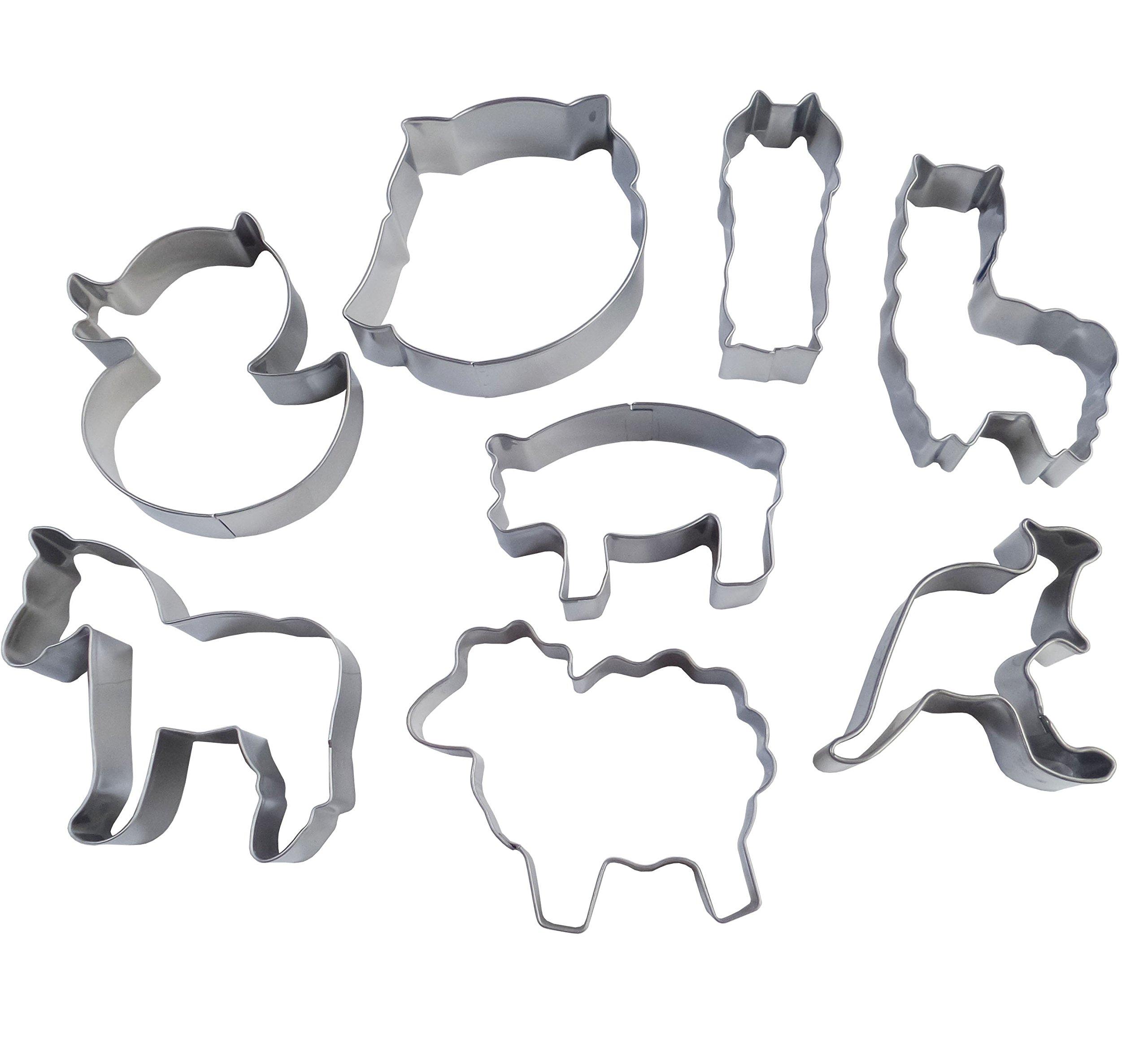Yunko 8pcs Farm Animals Cartoon Stainless Steel Cookie Cutter Fondant Cutter Cake Decorating Tools Sheep Horse Owl Pig Duck Kangaroo Alpaca