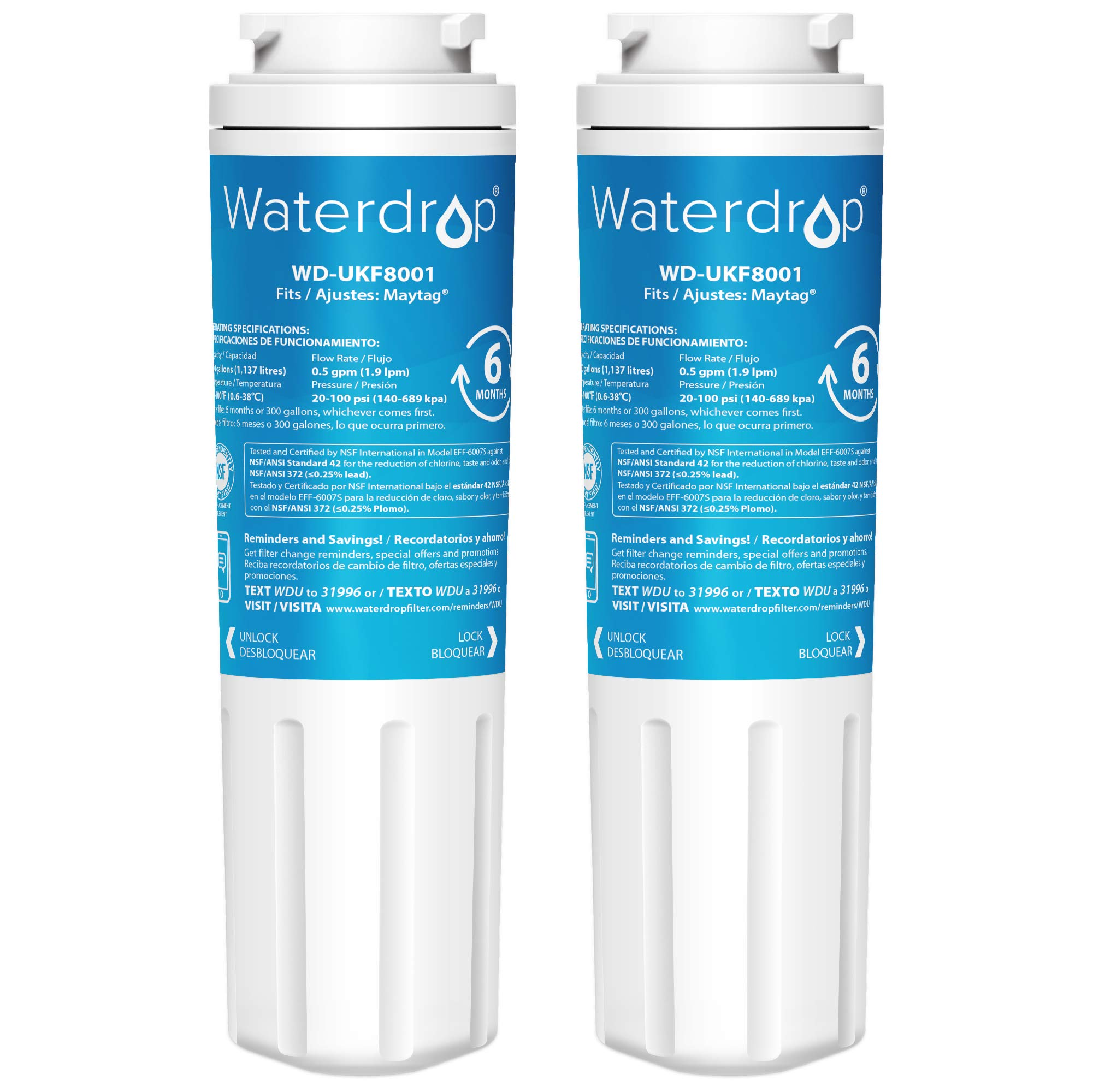 Waterdrop UKF8001 Replacement Refrigerator Water Filter, Compatible with Maytag UKF8001, UKF8001AXX, UKF8001P, Whirlpool 4396395, 469006, EDR4RXD1, EveryDrop Filter 4, Puriclean II, Standard, 2 Pack