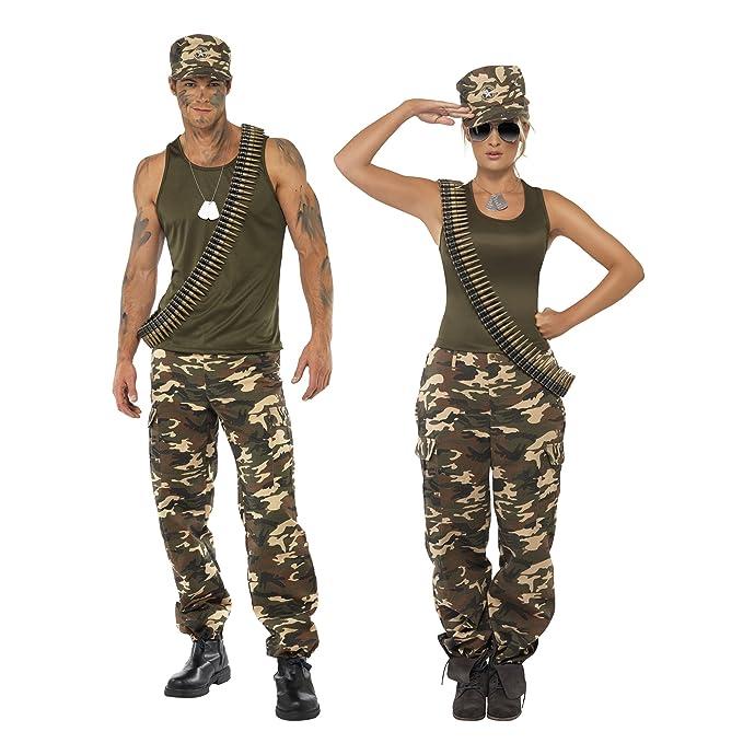 Smiffys Smiffys-35457M Disfraz de Camuflaje Deluxe, Color Caqui, para Mujer, Incluye Camiseta y pantalo, Verde, M - EU Tamaño 40-42 35457M