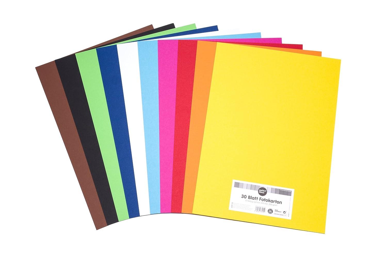 perfect ideaz cartoncino per foto, 30 fogli colorati in formato A3, colorazione integrale, disponibili in 10 diversi colori, spessore 300g/m², fogli di alta qualità procket