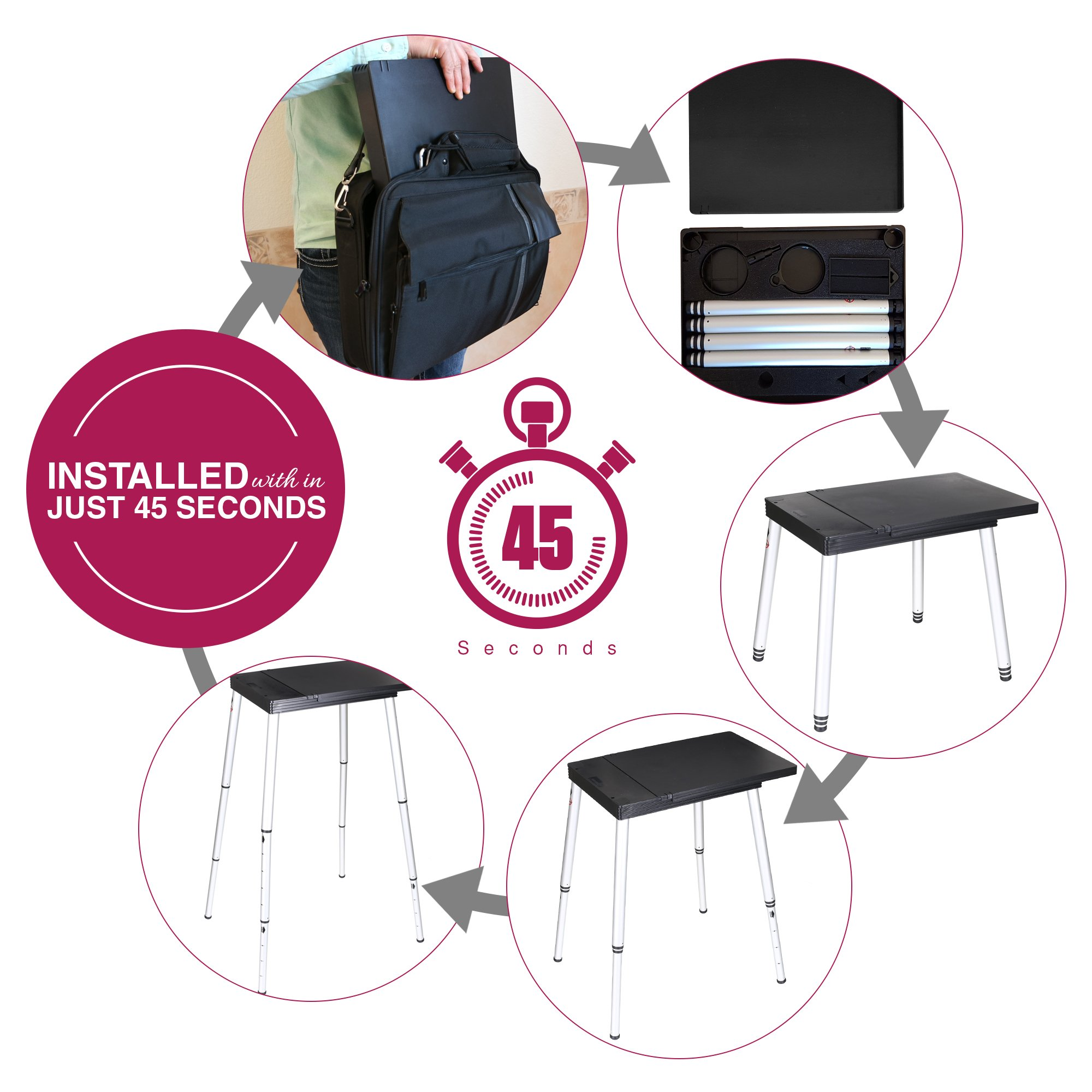 Tabletote Black Portable Compact Lightweight Adjustable Height Laptop Notebook Computer Stand …