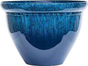Garden Flower Planter by The Gateway Garden | Durable Flower Planters Pot Indoor and Outdoor Plants | 12 inch Lightweight Pot for Plants (Faux Reactive Glaze Blue)
