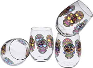 Culver Stemless Wine Glasses, 15-Ounce, Set of 4 Sugar Skulls (Clear)