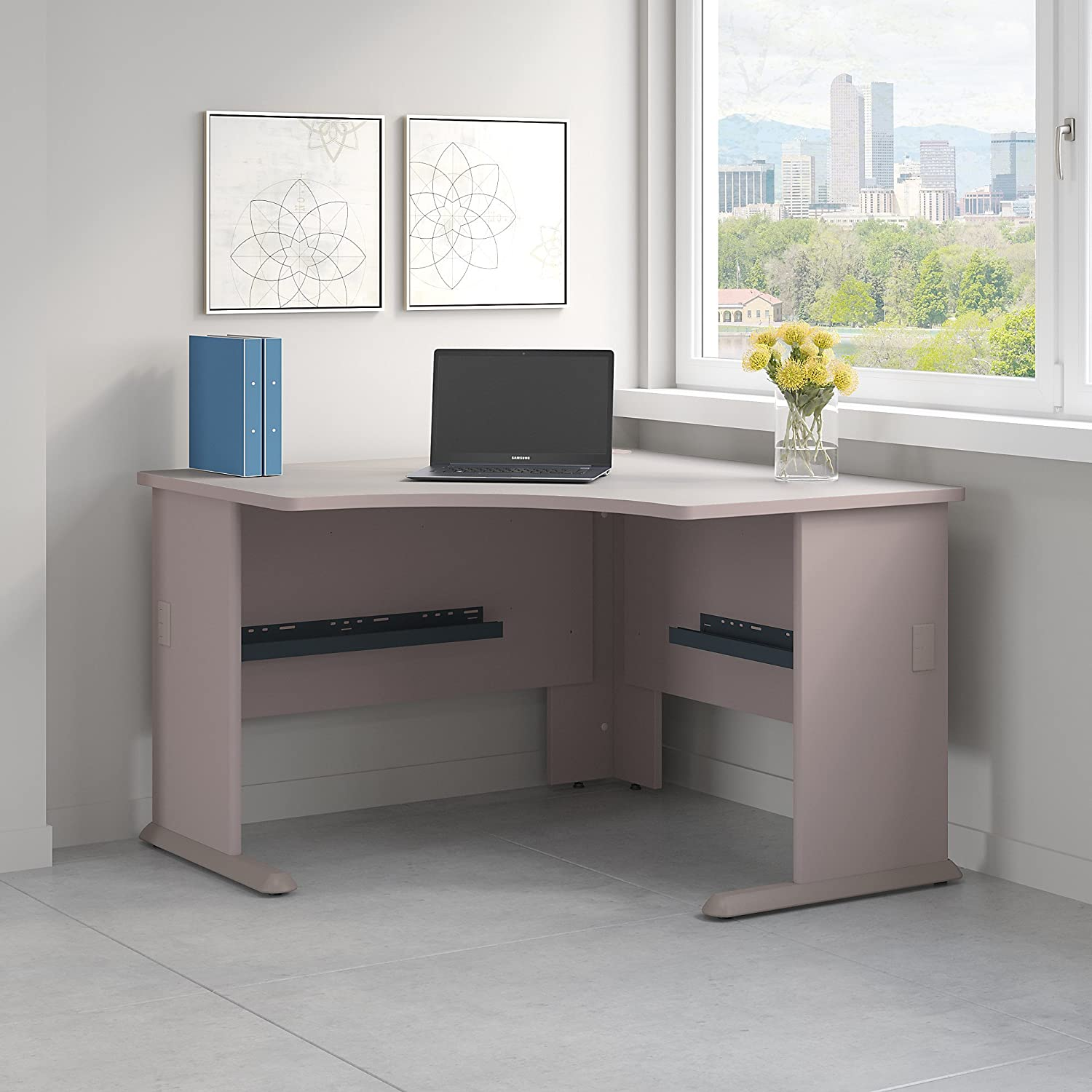 Bush Business Furniture Series A 48W Corner Desk in Pewter and White Spectrum