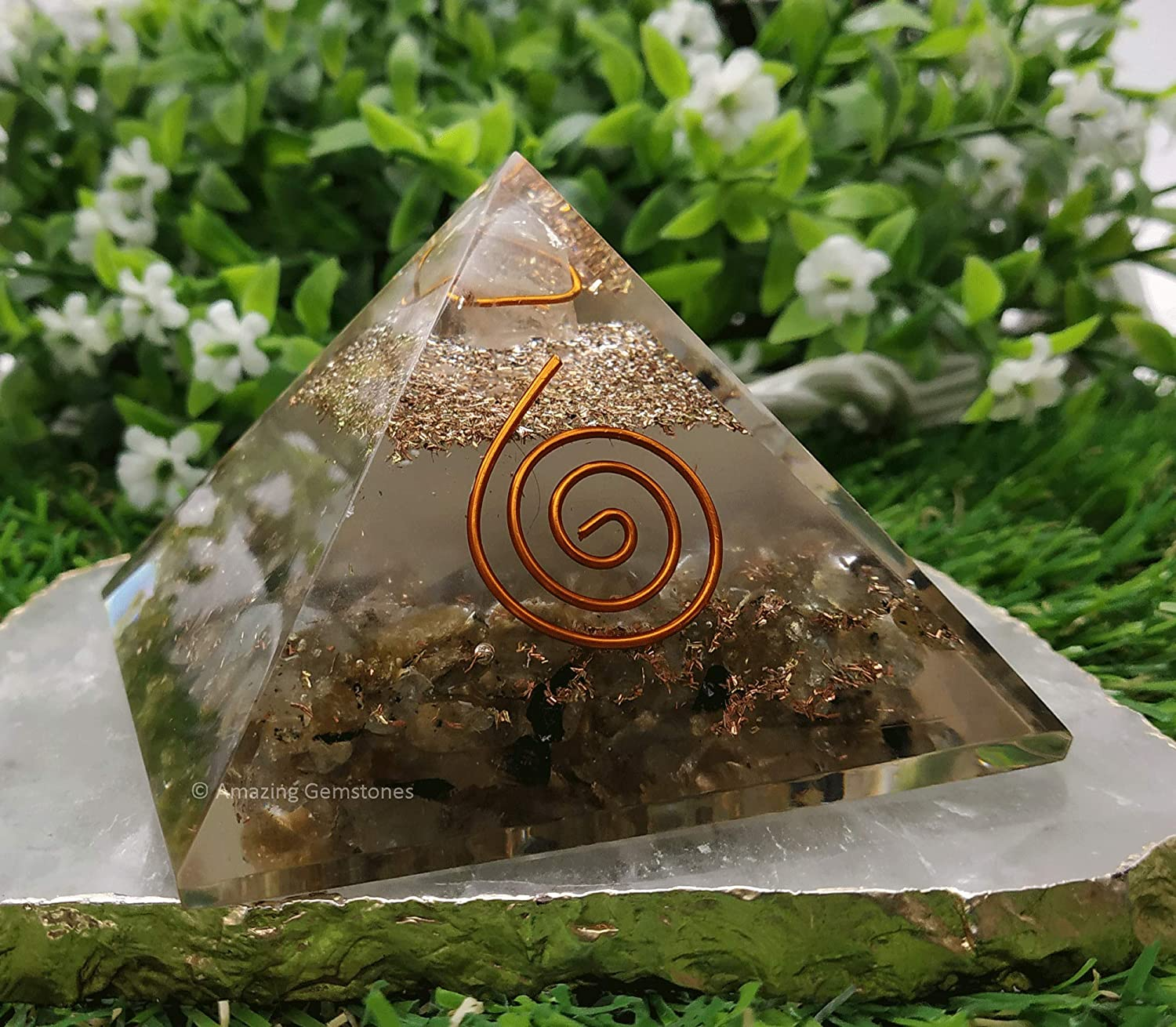 Amazing Gemstone Labradorite Glow in The Dark Orgone Pyramid/Orgonite Pyramid for EMF Protection, Negative Energy Protection and Home Office Decor