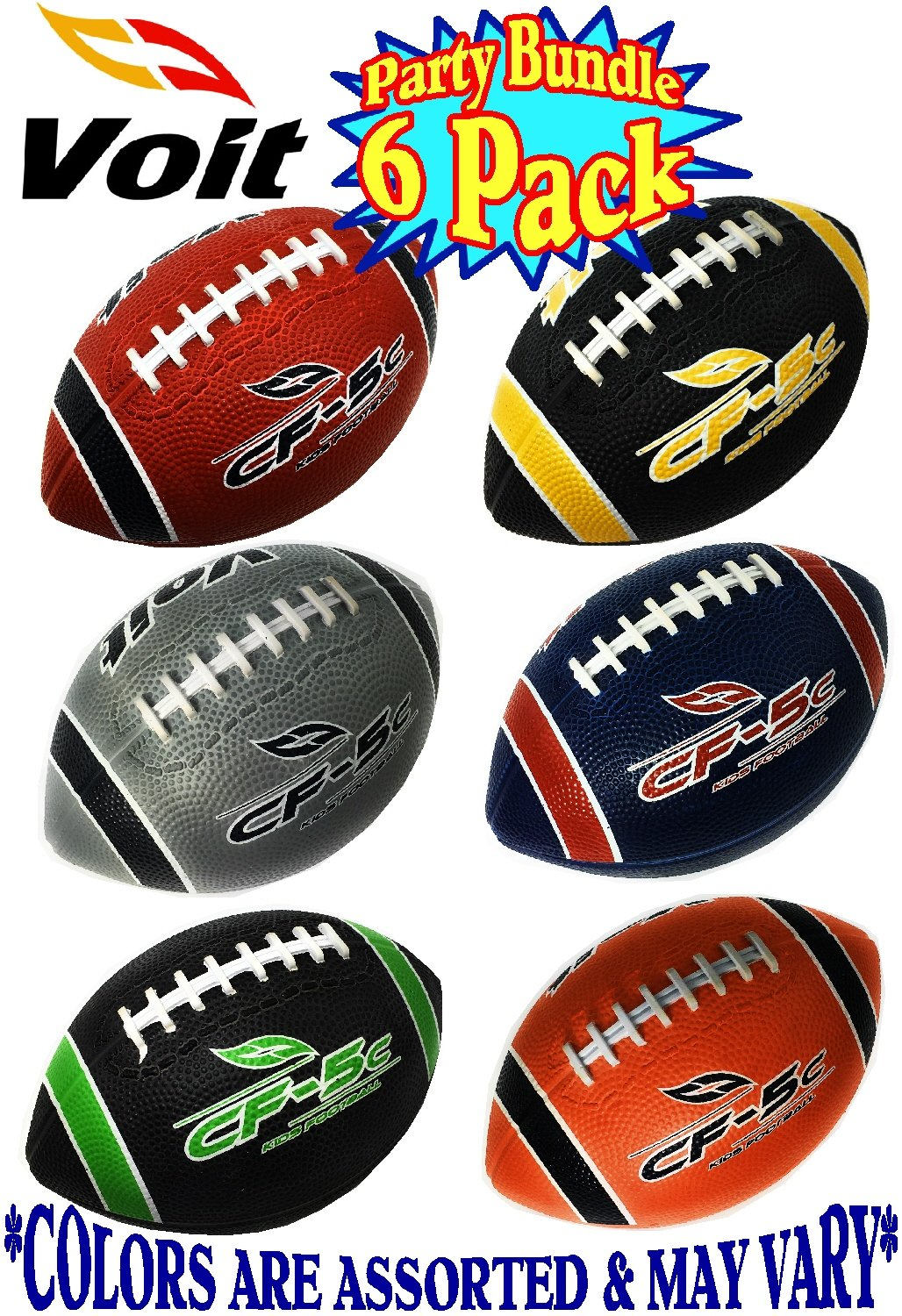 Indoor//Outdoor Gift Set Party Bundle Asssorted Colors Balls Ship Deflated Voit 6 Mini Rubber Inflatable Footballs 6 Pack