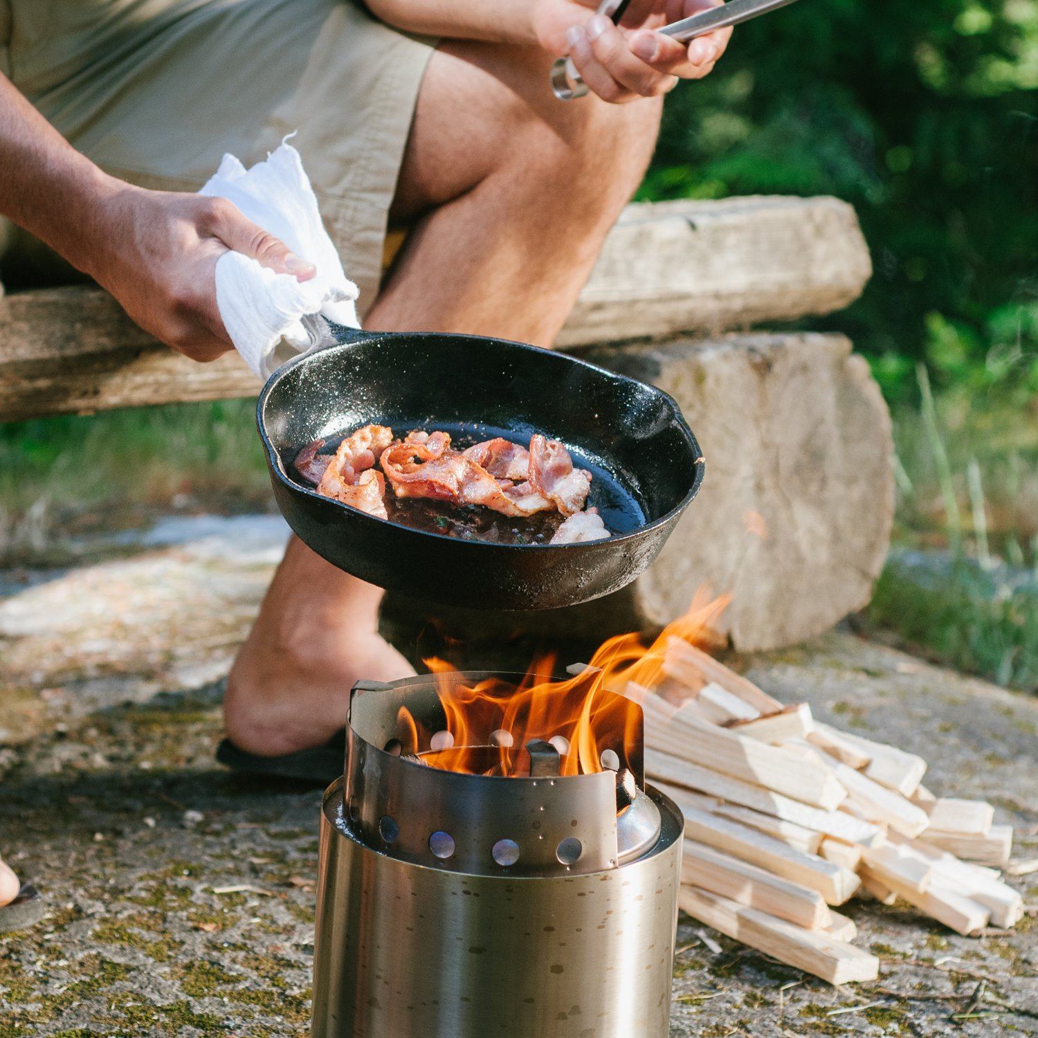 Largest Version of Original Solo Stove Great for Camping Hiking Emergency Preparation by Solo Stove Solo Stove Campfire Super-efficient Wood Burning Camping Stove Survival