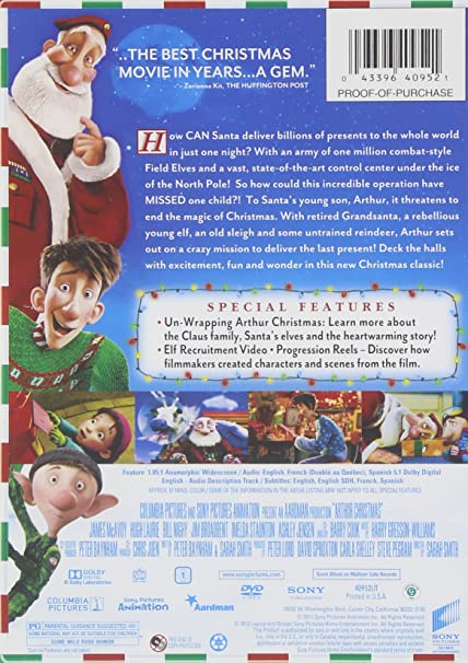 Amazon Com Arthur Christmas Sarah Smith Peter Lord David Sproxton Carla Shelley Steve Pegram Aardman Animations Columbia Pictures Sony Pictures Animation Inc Movies Tv
