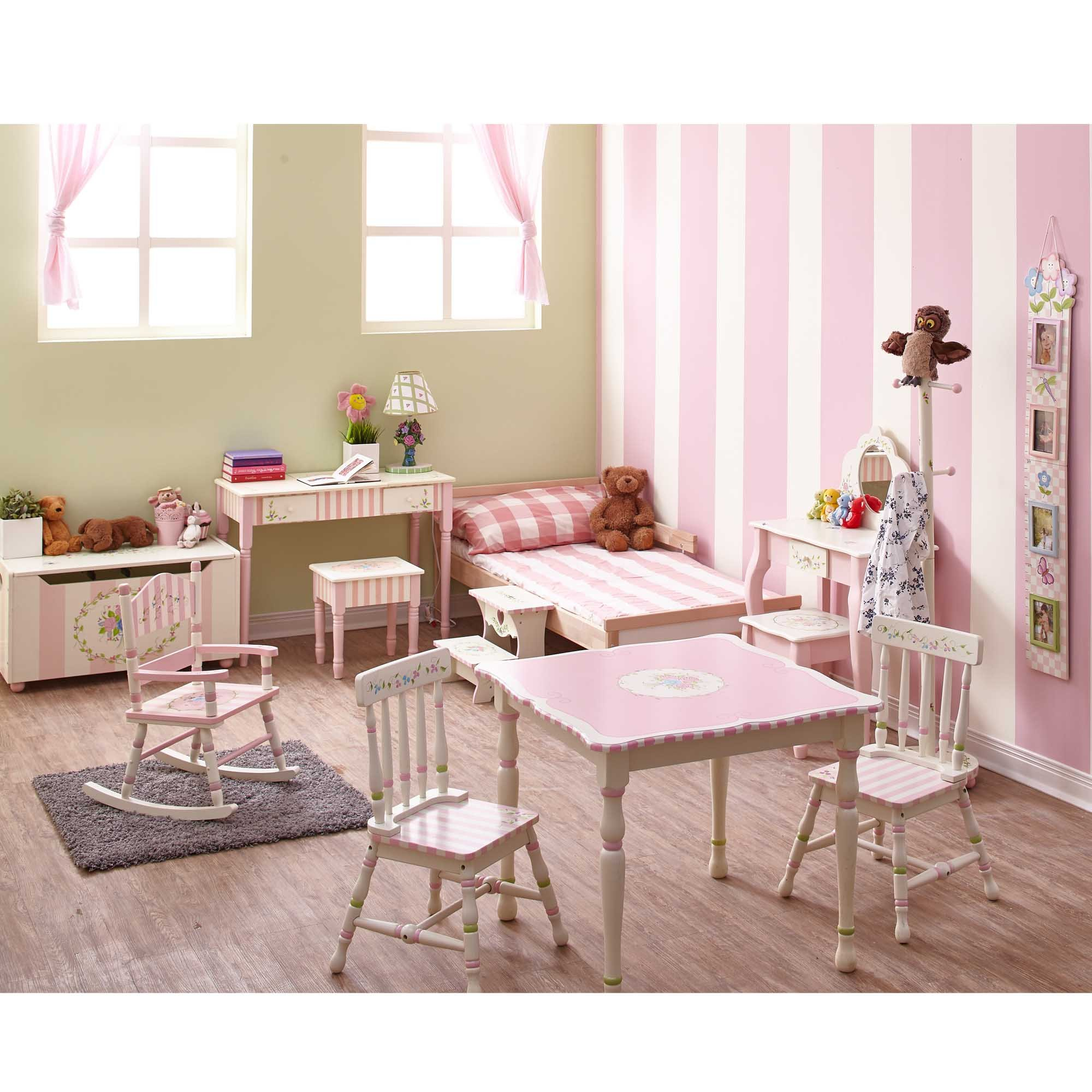 Fantasy Fields - Bouquet Thematic Kids Classic Vanity Table and Stool Set with Mirror   Imagination Inspiring Hand Crafted & Hand Painted Details   Non-Toxic, Lead Free Water-based Paint by Teamson Design Corp (Image #5)