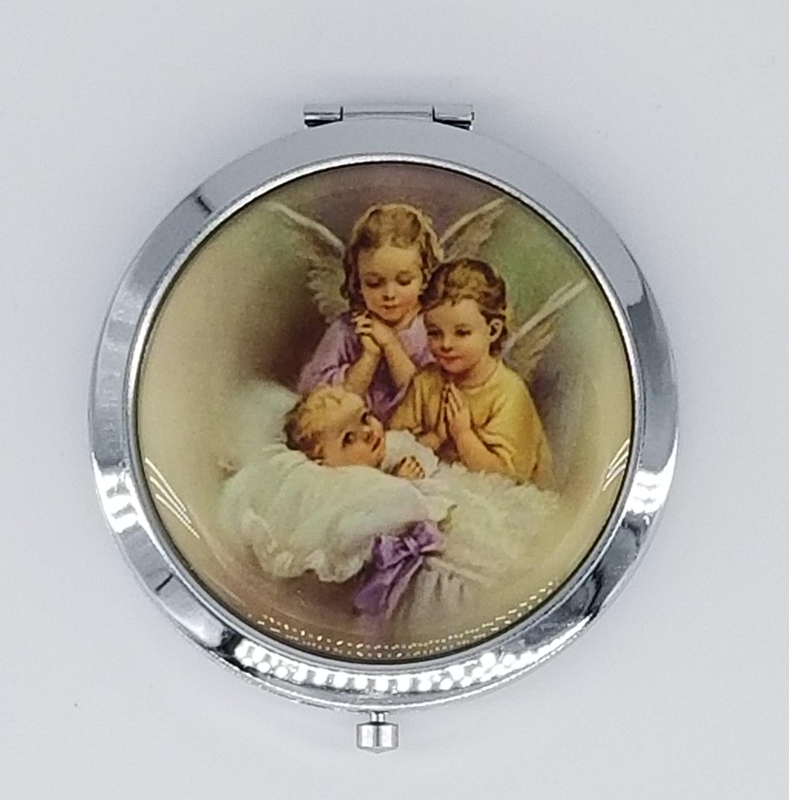 12 pcs Personalized Guardian Angel Baptism Double Compact Mirror Recuerdos de Bautizo party favors for Boy and Girl
