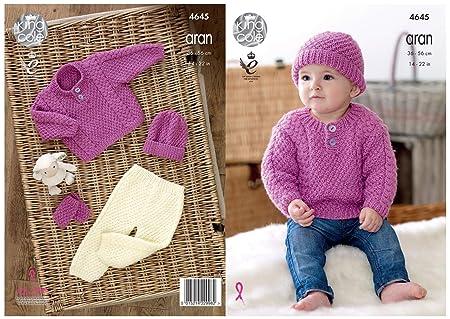 baae0d09b0f6 King Cole Baby Comfort Aran Knitting Pattern Sweater Trousers Hat ...