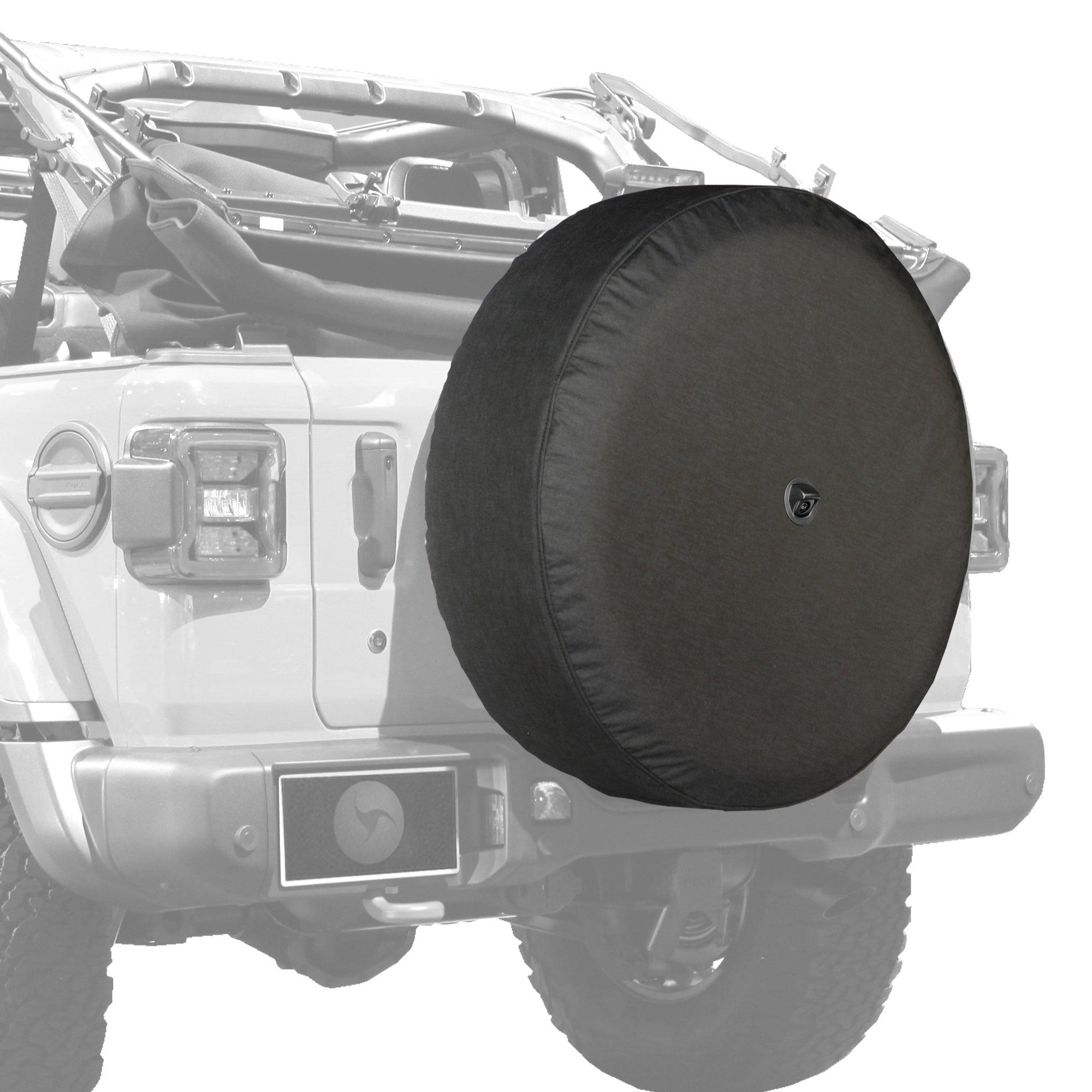 Jeep Wrangler Rubicon JL & JLU - 33'' Soft Tire Cover - Black Denim Vinyl w/Molded Camera Hood