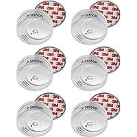 SEBSON 10 Jahres Rauchwarnmelder inkl. Magnethalterung, DIN EN 14604 Zertifiziert, fotoelektrischer Rauchmelder, Lithium Langzeit Batterie, 6er Pack