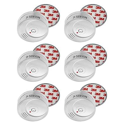 Sebson 6X Detector de Humo NF Incluye Soporte Magnético, Batería de Litio de Larga Duración