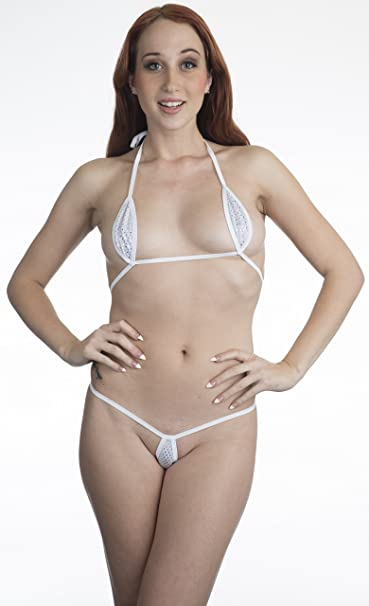 8edf4358f11 Amazon.com: Bitsy's Bikinis White w/Silver Dots Sexy Mini Teardrop Bikini  2pc Micro G-String Exotic Extreme: Clothing