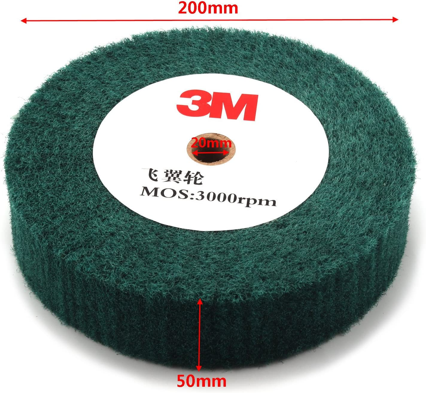 6inch Non-woven Abrasive Grinding Flap Wheel Nylon Fiber Wheel Scouring Buffing Pad for Rotary Tool 2inch Thickness 240 Grit Red