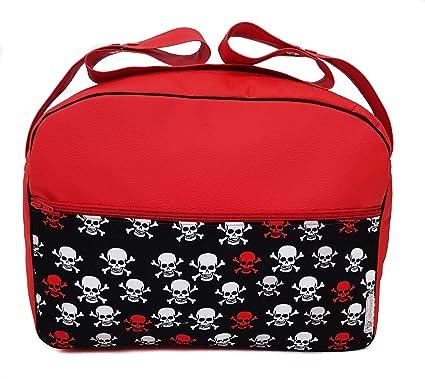 Maxi bolso para carrito, bolsa para carro de bebé en ecopiel impermeable. Modelo Calaveras