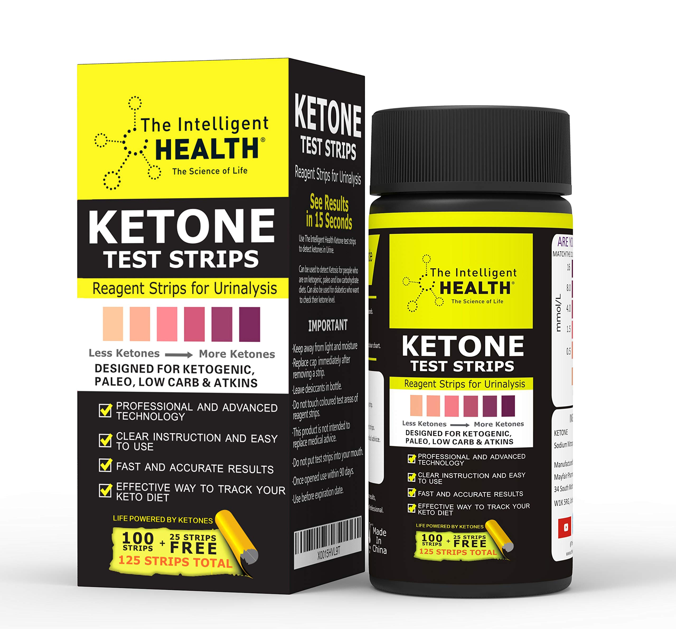 The Intelligent Health Ketone Urine Test Strips | 125 Pack | Ketosis Measuring Strips Kit | Suitable for Ketogenic, Paleo, Low Carbs & Atkins Diets