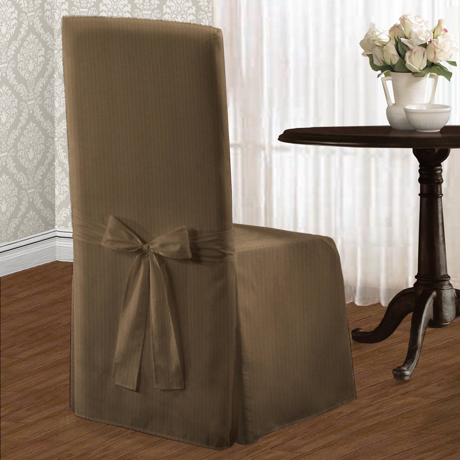 United Curtain Metro Dining Room Chair Cover, 19 by 18 by 42-Inch, Taupe