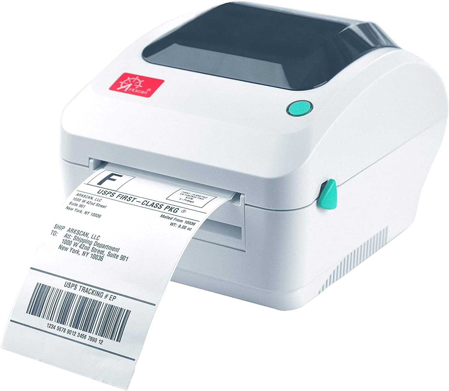 Arkscan 2054A USB + Ethernet/LAN Shipping Label Printer, Support Amazon Ebay PayPal Etsy Shopify Shipstation Stamps.com Ups USPS FedEx DHL On Windows & Mac, Roll & Fanfold Thermal Direct Label 4 x 6