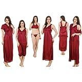 Fasense Women Satin Nightwear 6 PCs Set of Long Wrap Gown, Nighty, Top, Capry, Bra & Thong GT002