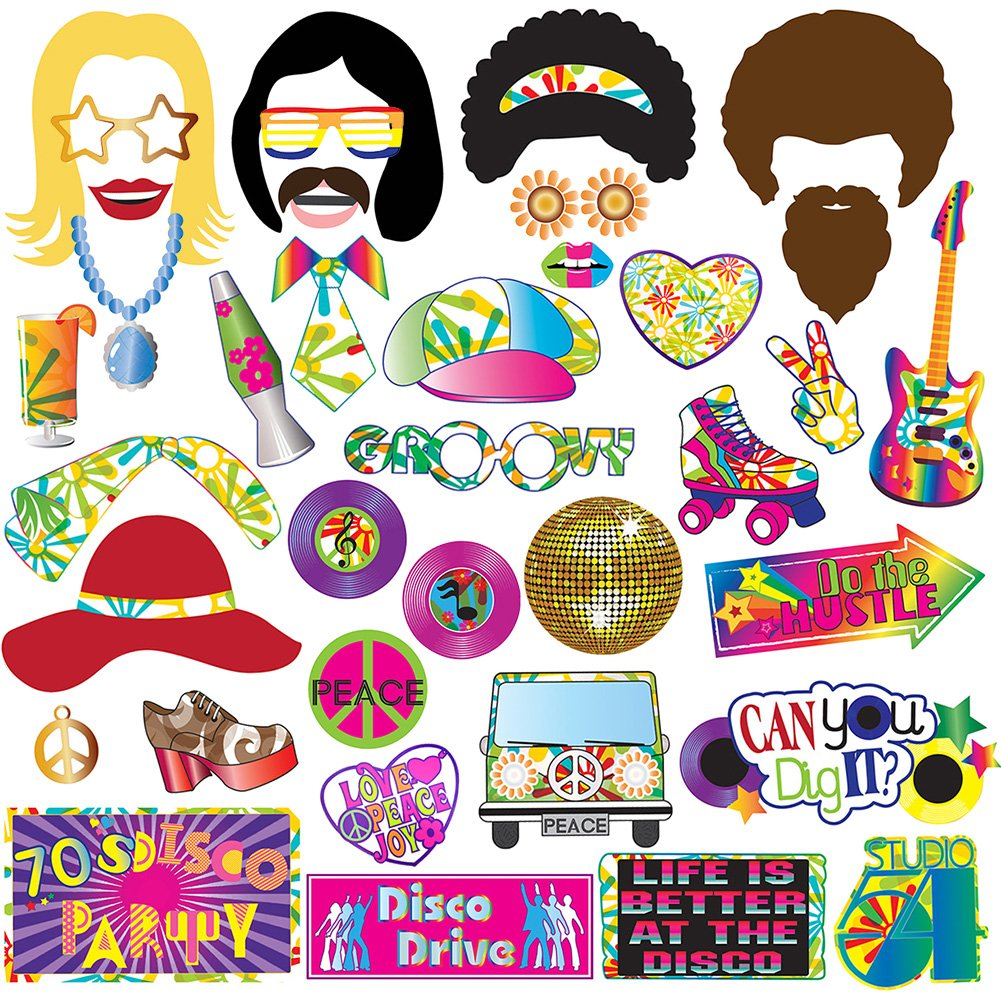 70's Photo Booth Props Party Supplies Kit For 70's Party Decorations Disco Fever,Hippie Party, I Love 70's, Groovy Photobooth Props, 1970's Party Supplies