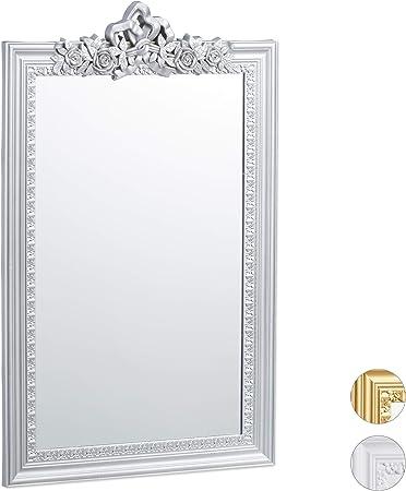 Relaxdays 10025535/_55 Baroque 64 x 39,5 x 2 cm Couloir Design Antique argent/é Verre Salle de Bain Carton PP Miroir rectangulaire /à accrocher