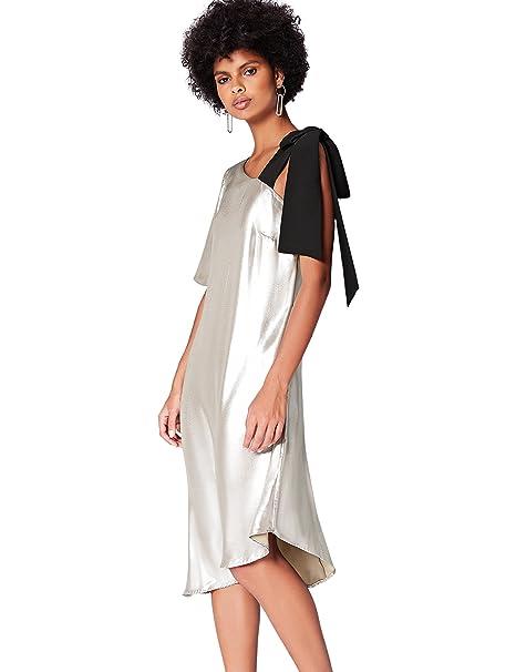 FIND AZ011 Vestido Fiesta Mujer, Plateado (Silber), 36 (Talla del Fabricante