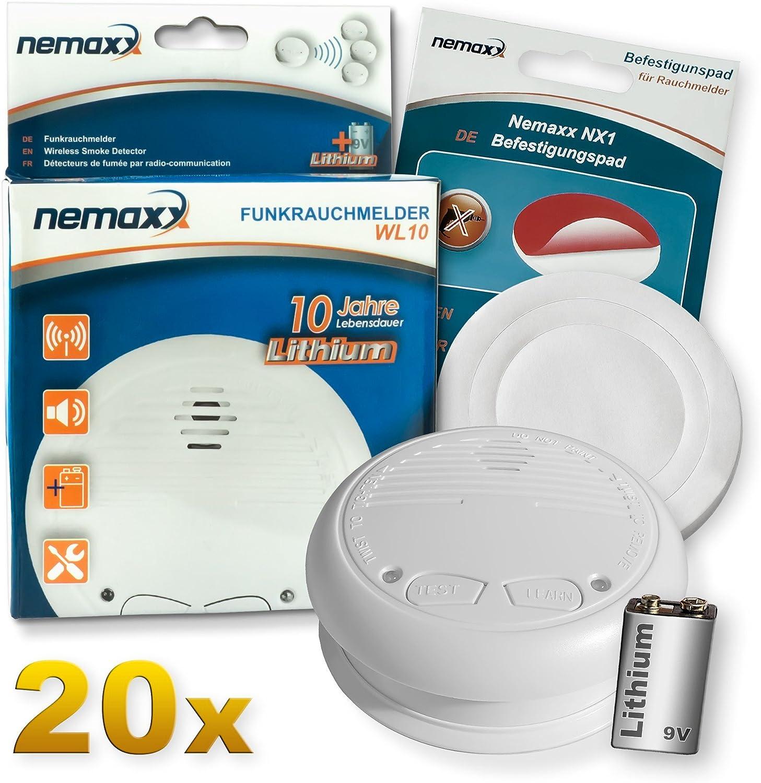 nach DIN EN 14604 2X NX1 Quickfix Befestigungspad mit 10 Jahre Lithium Batterie Rauchmelder Feuermelder Set Funk koppelbar vernetzt 2X Nemaxx WL10 Funkrauchmelder