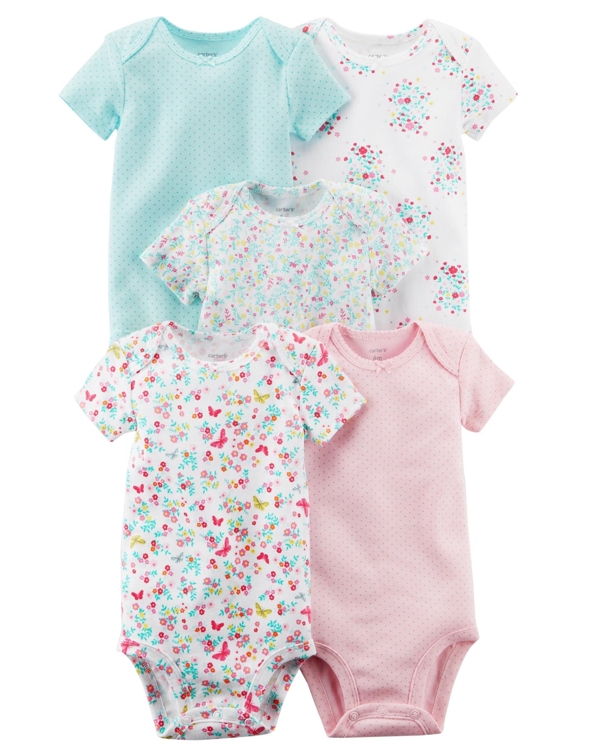 e76457b2c Galleon - Carter's Baby Girls 5 Pack Bodysuit Set, Flowers, 9 Months