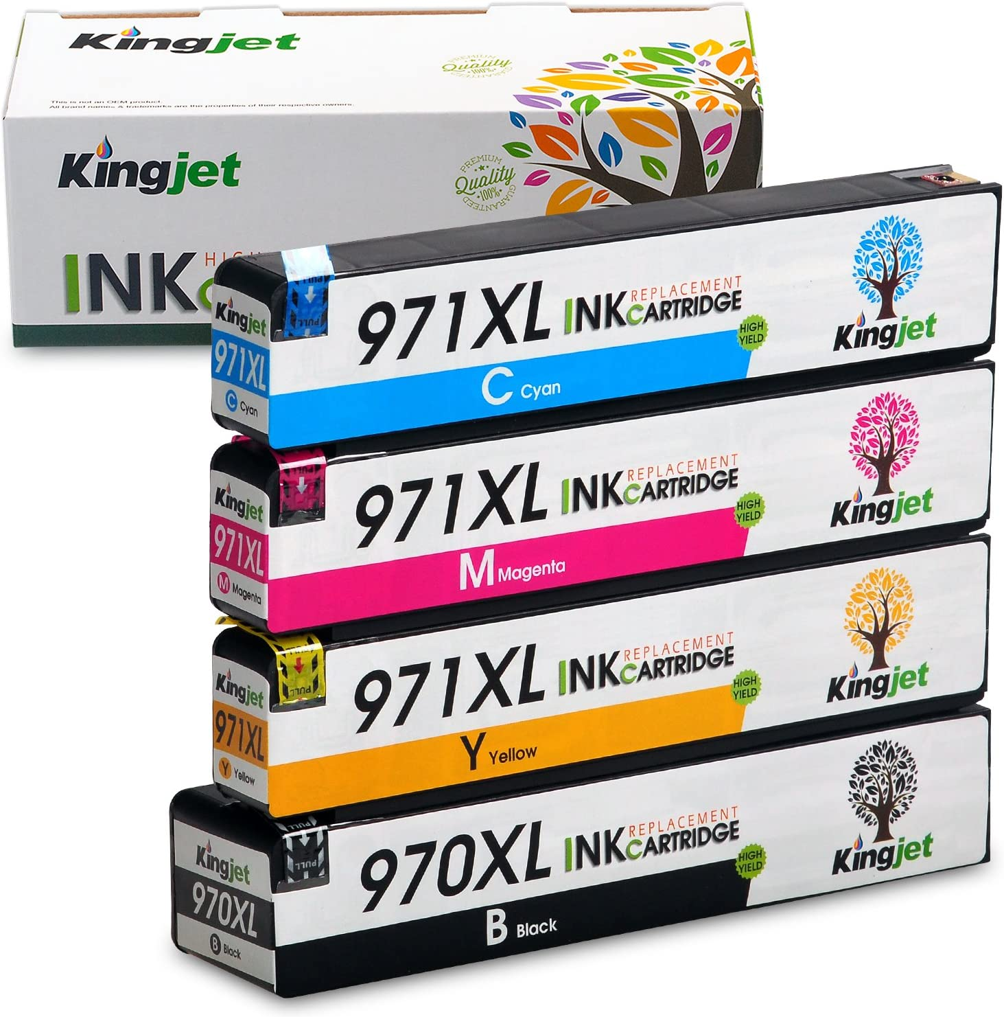 970XL 971XL Ink Cartridge, Kingjet Compatible Replacements Work with Officejet Pro X576dw X451dn X451dw X476dw X476dn X551dw Printers, (1 Set)