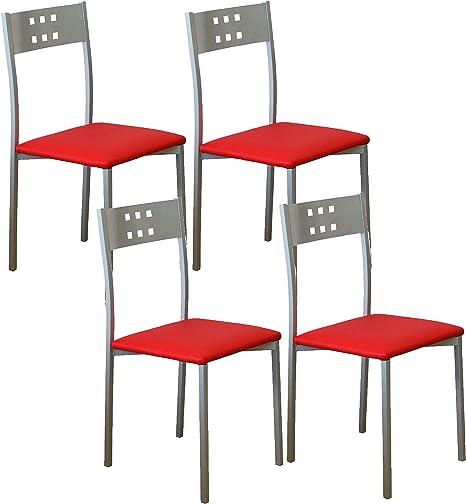 Miroytengo Pack 4 sillas Cocina Color Rojo Costa Estilo Moderno ...